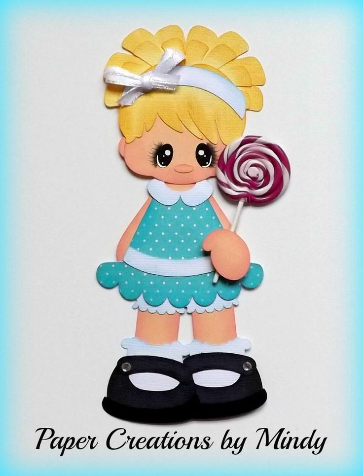 ELITE4U lollipop girl kids blue premade paper piecing scrapbooking page album ~ DT Mindy