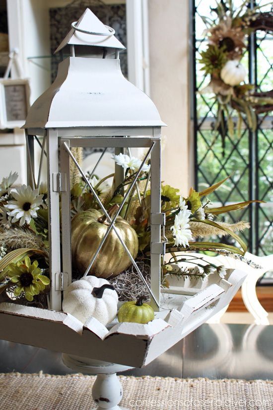 DIY Fall Lantern Centerpiece (I almost threw this old lantern away!) Confessions of a Serial Do-it-Yourselfer