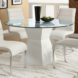 Furniture Of America Mauna Tempered Glass Round Dining Table Cm8371wh T