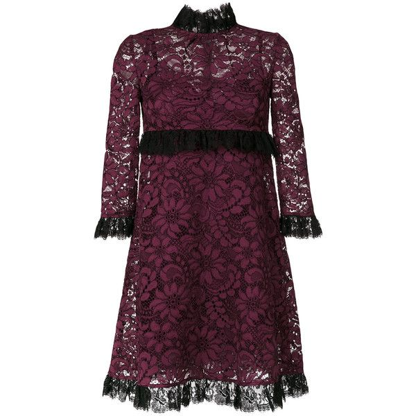 Dolce & Gabbana frill lace dress ($2,675) ❤ liked on Polyvore featuring dresses, ruffle dresses, purple ruffle dress, flutter-sleeve dress, ruffle cocktail dress and 3/4 sleeve cocktail dress