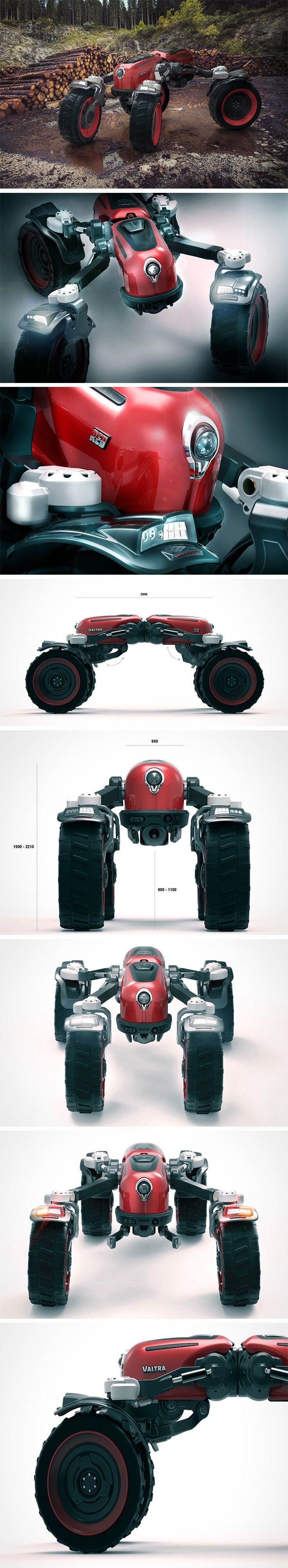 "Red is a semi-autonomous machine with a nearly unlimited number of heavy duty applications from forestry to construction thanks to its shape-shifting design. Its unique symmetrical structure enables instantaneous switching between moving directions. Additionally, each of its ""limbs"" can extend or contract to accommodate varying needs and spatial requirements."