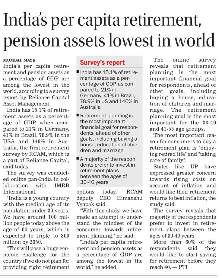 India's per capita #retirement and pension assets as a percentage of GDP is among the lowest in the world, according to survey report by Reliance Capital Asset Management.Get Additional tax benefits with RMF Wealth Creation & Income Generation Scheme. For more information visit   https://www.reliancemutual.com/FundsAndPerformance/Pages/Reliance-Retirement-Fund-Wealth-Creation-Scheme.aspx