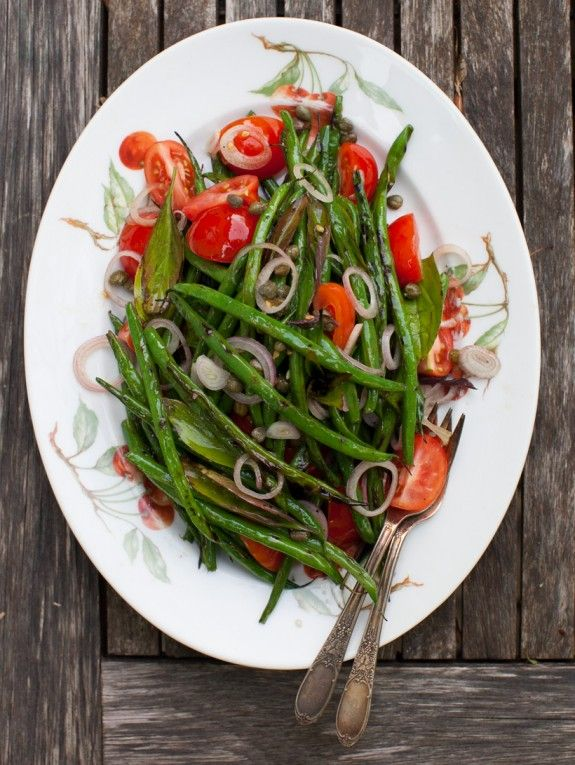 Yummy grilled green bean salad.