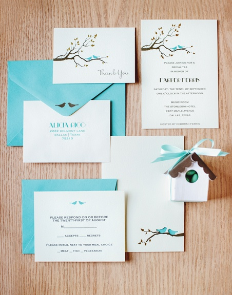 Invitation cards and Love birds wedding