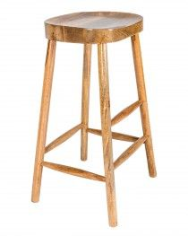 Solid Mango Wood Jens Bar Stool with Footrests, Natural Oak Shade, 78cm High