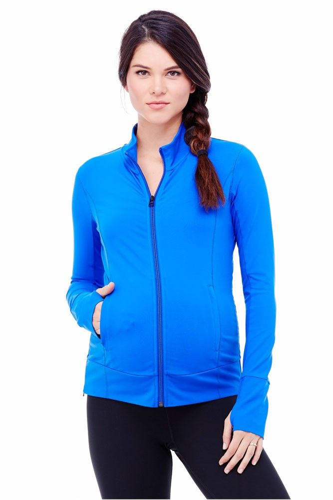 Ingrid & Isabel Side Zip Active Maternity Jacket in Royal. Please use coupon code NewProducts to receive 15% off these items. To receive the discount, please place your order by midnight Monday, April 13, 2015