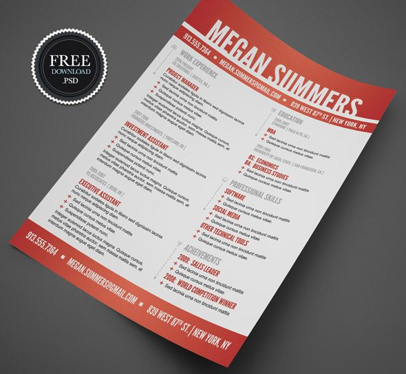 here are some best collection of free psd resume templates cv psd templates free professional resume templates and free creative resume template psd - Free Creative Resume Templates Word