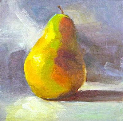 painting a day, daily painter, small oil painting, pear