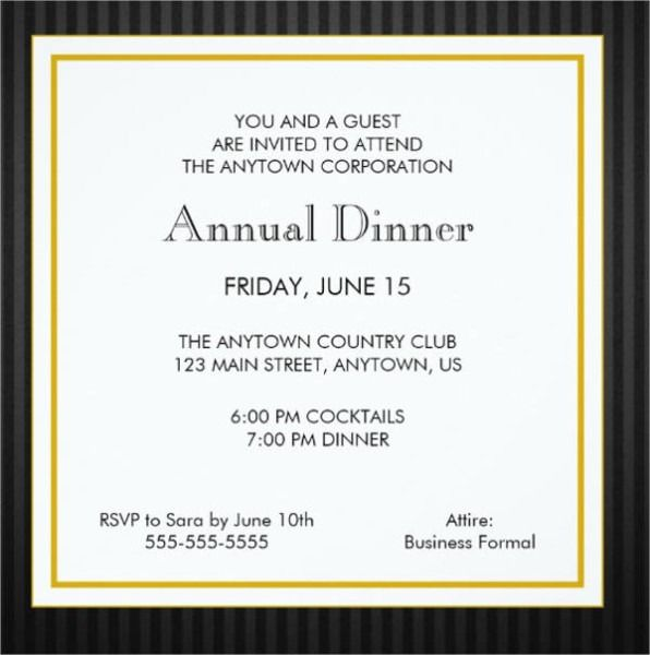 Formal Invitations For Business Dinner
