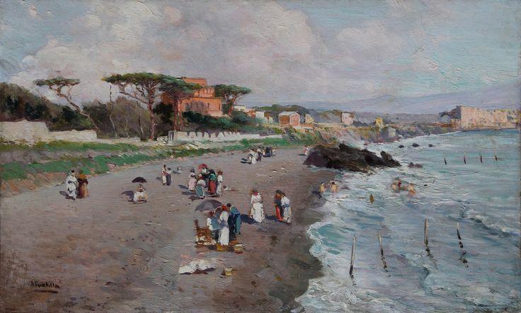 Attilio Pratella (Lugo 1856 - Naples 1949), Neapolitan seaside. Oil on wood