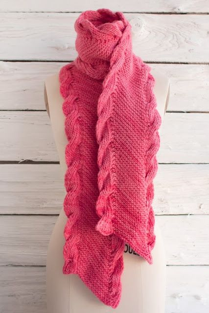 Knitting On The Bias Patterns : Free knitting pattern manos maxima bias scarf cable