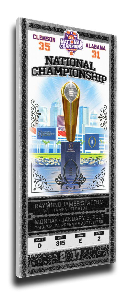 2016 Football National Championship Commemorative Canvas Mega Ticket ? Clemson Tigers