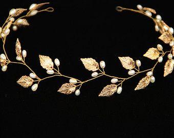 Bridal leaf crown headband silver leaves tiara head by mylavaliere