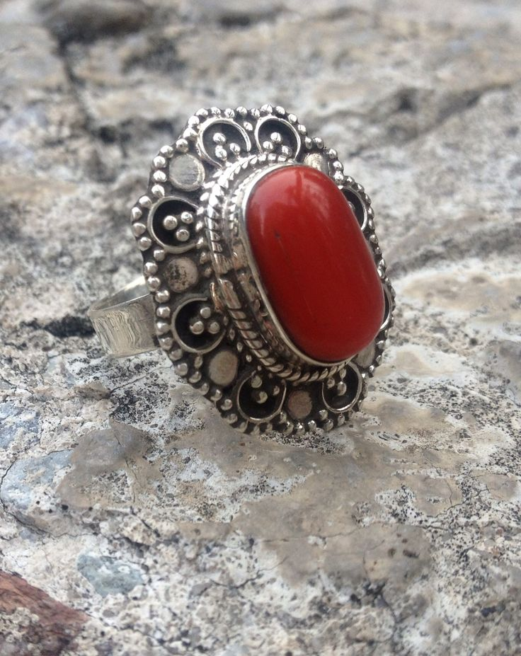 NAJIB JEWELLERS OFFERS CUSTOMERS A WIDE SELECTION OF SILVER JEWELLERY, ANTIQUE JEWELLERY AND BEADS FROM AROUND THE WORLD.   THIS IS OUR ONE OF A KIND STERLING SILVER CORAL RING  WE ONLY SELL ON ETSY PLEASE CLICK THE LINK TO SEE MORE OF OUR PIECES  https://www.etsy.com/ca/shop/NajibJewellers/about?ref=shopinfo_about_leftnav  We ship world wide we do custom orders as well as whole sale   LIKE OUR FACEBOOK PAGE > NAJIB JEWELLERS<  FOR EXCLUSIVE PROMOS AND PRODUCTS
