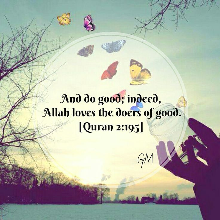 Qur'an al-Baqarah (The Cow) 2:195: And spend in the way of Allah and do not throw [yourselves] with your [own] hands into destruction [by refraining]. And do good; indeed, Allah loves the doers of good.
