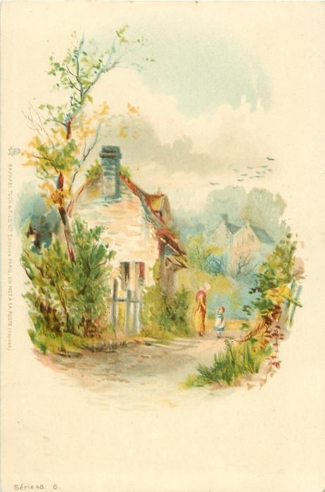 Cottage scene, with woman and child. c. 1902.