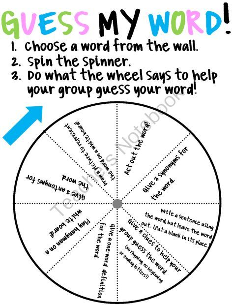 Guess My Word Spinner from Teach Love Happiness on TeachersNotebook.com - (2 pages)