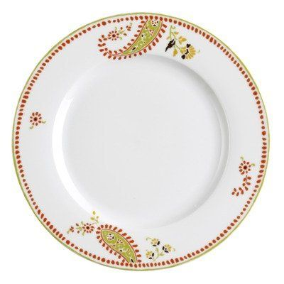 Dinnerware Paisley 4 Piece Dinner Plate Set by Rachael Ray. $24.95. Diameter: 10.5-in.. Cleaning & Care: Dishwasher Safe. Origin: China. Pattern: Paisley. Material: Porcelain. 58111 Features: -Fun orange and green with a hint of yellow brings out a sense of style for every occasion.-Dinner plates are made from sturdy porcelain, durable enough for daily use.-Microwave and dishwasher safe. Includes: -Set includes: Four 10.5' dinner plates. Collection: -Paisley col...