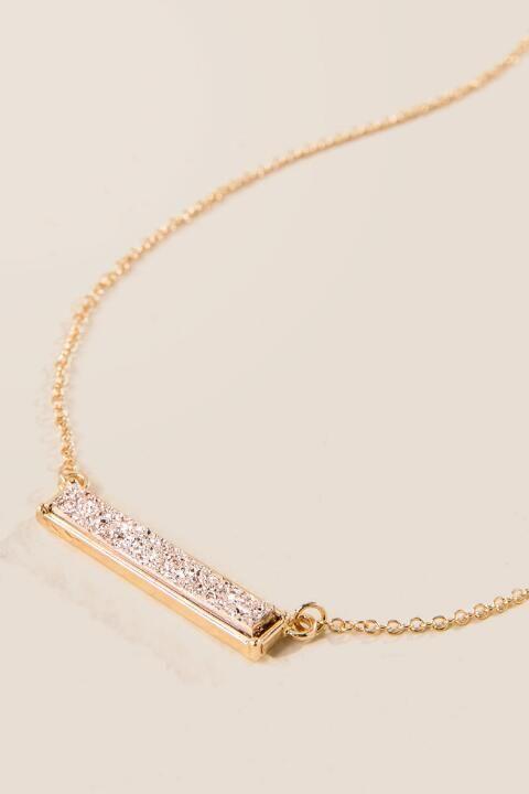 Rosaleen Druzy Bar Necklace