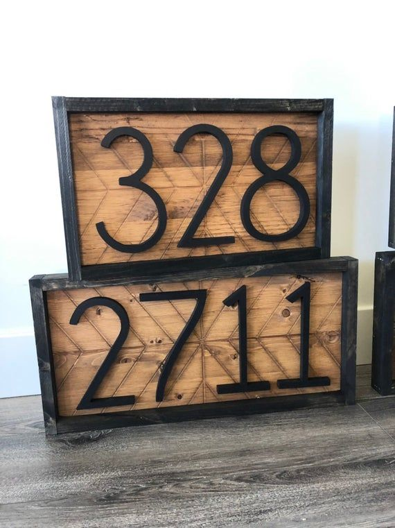 Address Sign Address Plaque House Numbers Vertical House Numbers Herringbone Wood Address Home Sign Wooden Farmhouse Number Sign Address Sign House Numbers Herringbone Wood