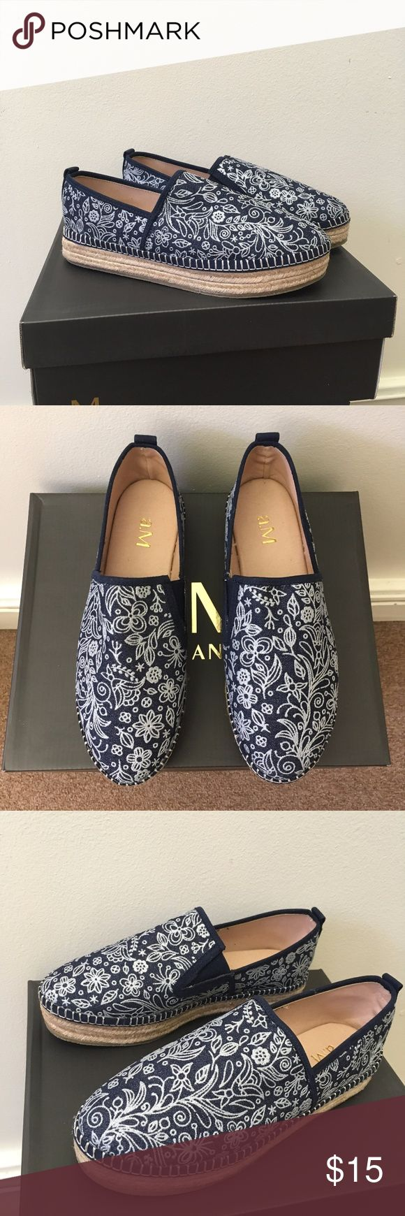 """NWT NAVY PAISLEY TRIBECA ESPADRILLE Sold out on Inkkas Footware website! a.M. Marcus Anthony brand. Size US 8/EU 39/CM 24.8. I am size 8.5 and they fit fine/snug. New with Box. """"It features a braided midsole and a rubber sole with a splash of color to highlight your step. Jute soles and textile uppers combine forces to help you be the most stylish version of yourself. These handcrafted shoes are made with authentic global textiles in Mexico."""" Reinforced heel, comfort instep. Pattern is shiny…"""