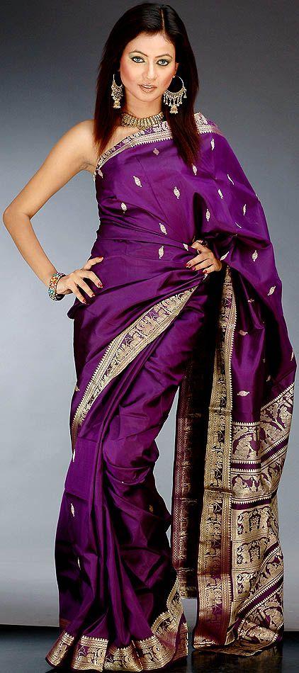 Purple Baluchari Sari - mythological designs (?)