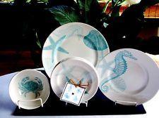 16 Pc ~222 Fifth COASTAL LIFE BLUE DINNERWARE SERV/4 ~ NEW