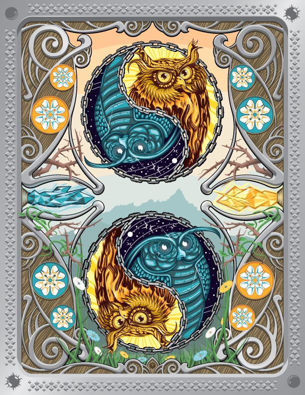 This illustration was created entirely in Adobe illustrator using the pen tool and a variety of shape and pathfinder tools.  It is a combination of old and new elements that were brought together into an Art Nouveau inspired piece that emphasizes the imperfect balance and symmetry that exists in nature.  The two owls and their characteristics are meant to represent the sun and moon.   This piece was published in Bézier Volume.1: The Best Vector Artists Worldwide on page 139  This piece w...