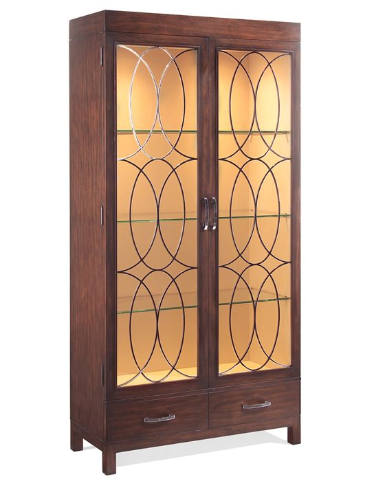 The John Richard Tor Display Cabinet With Lights Features A Dark Black Walnut Exterior Soft White Interior Polished Chrome Door Is Fitted