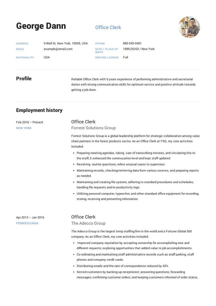 office clerk resume example  template  sample  cv  formal