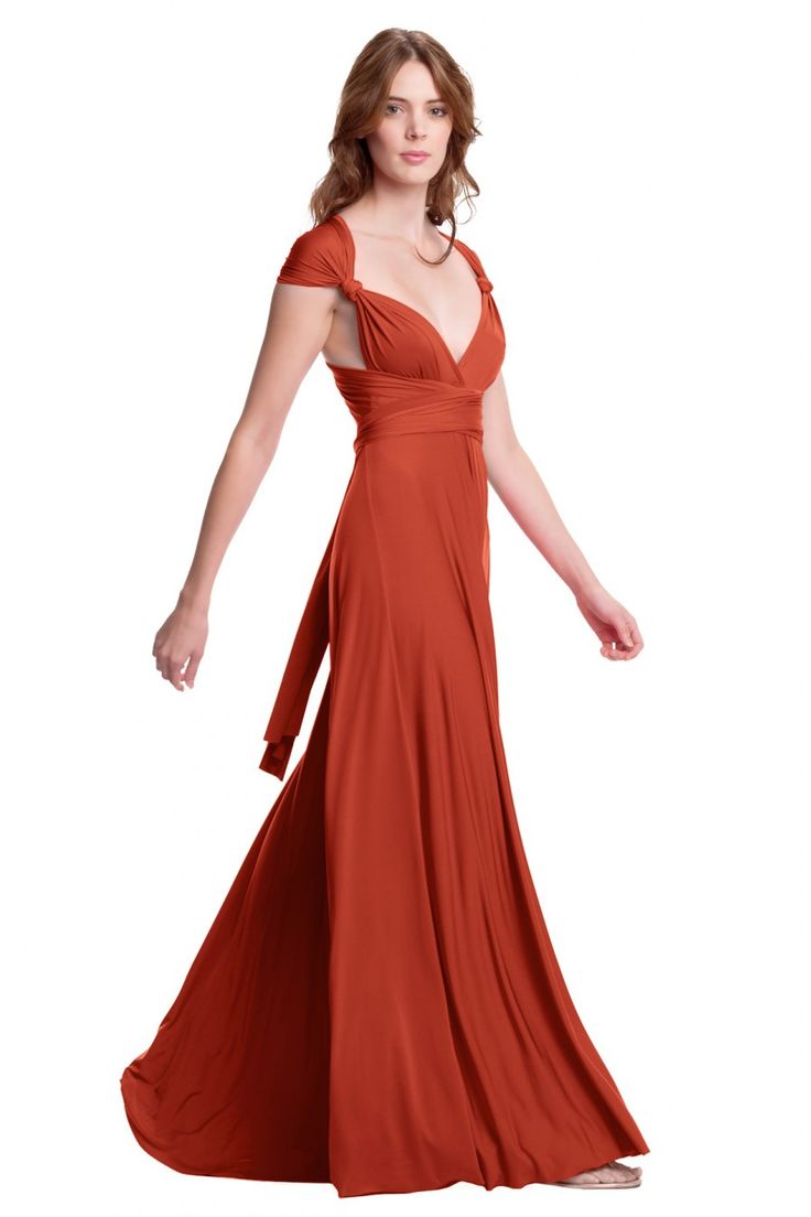 Burnt Orange Chiffon Long Modest Bridesmaid Dresses With ... |Burnt Orange Gowns