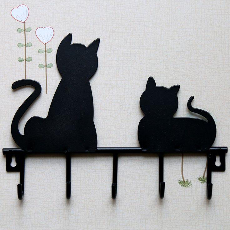 Barato Moda Black cat design ferro Metal parede porta montada brasão roupas…