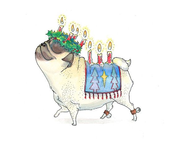 Christmas Yule Pug - Santa Lucia - Pug Art Print or Christmas Card from INKPUG on Etsy, $4.50