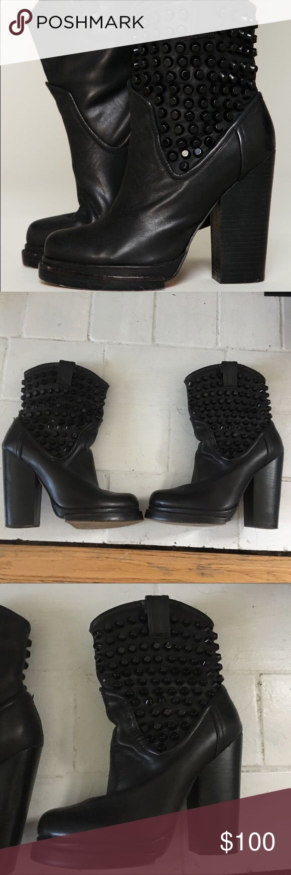 Jeffrey Campbell Free People Chelsea stud boots Rare Chelsea stud boots previously sold at Free People, heel height roughly 4.5 inches, comes pre-distressed/has a worn in look, super cute with a mini skirt or jeans!! As seen on Ashley Tisdale Jeffrey Campbell Shoes