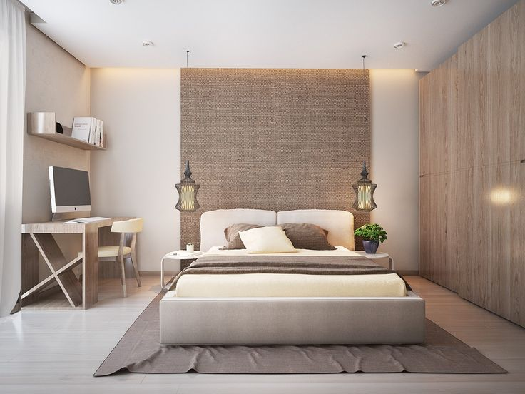 The bedroom plays with texture and shape here also, with a natural backdrop behind the headboard, layered linens, and an exotic looking set of pendant lights.