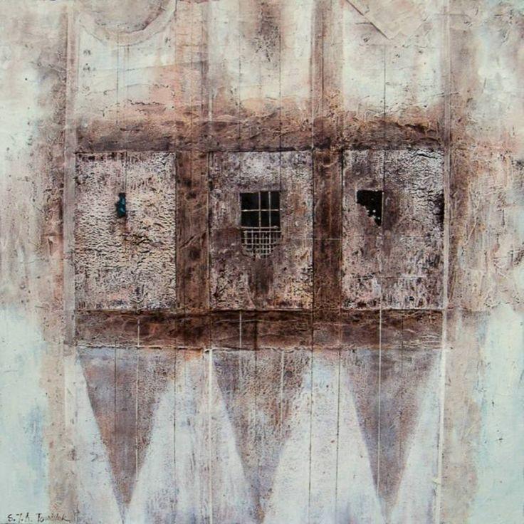 """TOMALAK Stanisław (ur. 1955) - nowa praca """"Fragment 132"""" 100x100, technika własna/płyta https://www.facebook.com/AartzoneStudio/"""