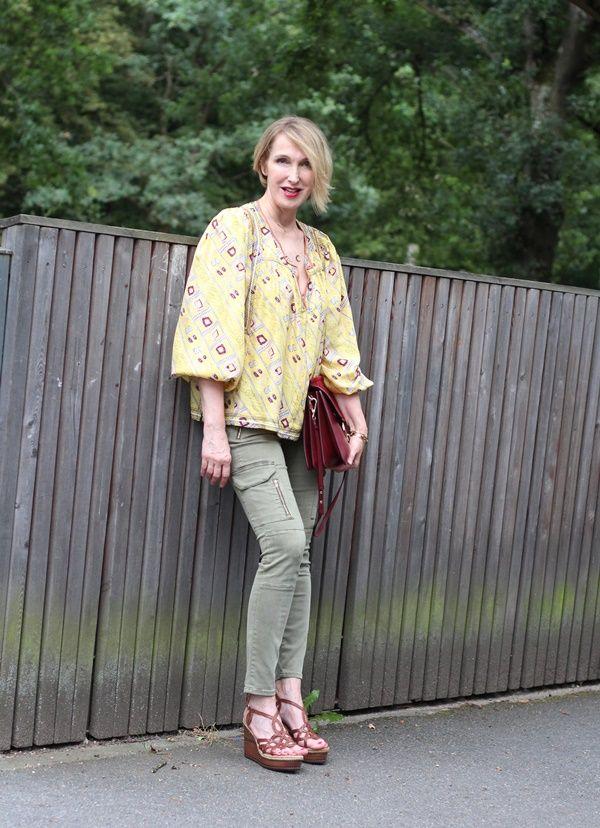Boho Style, Hippie Bluse, Isabel Marant Bluse, grüne Cargohose, Ü40 Mose, Ü50 Blog, Boho Stil, Hippie Look