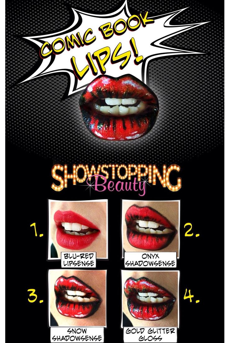 Comic book lips! Start with Christina Aguilera's favorite LipSense Blu-Red, then use waterproof eyeshadow ShadowSense Onyx and Snow with Gold Glitter Gloss. www.senegence.com/jennasboutique
