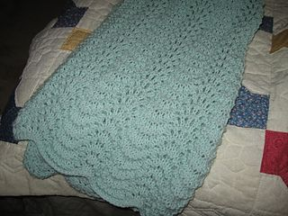 40 X 30 Baby Blanket In Lovely Feather And Fan Stitch