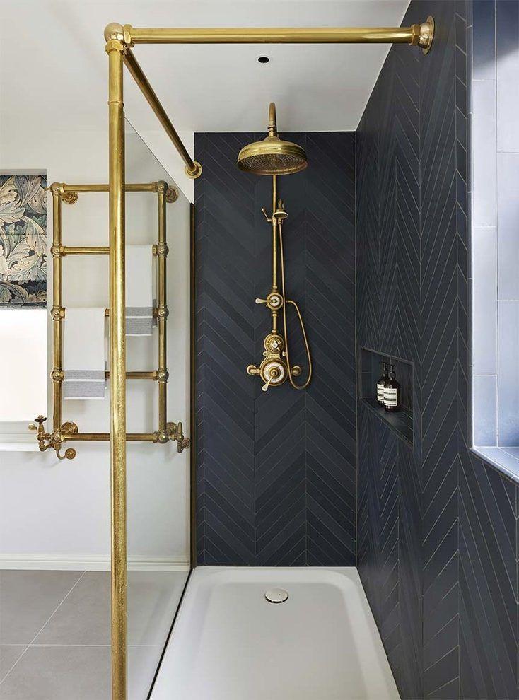 Image Result For Navy Herringbone Tile Black White Bathrooms