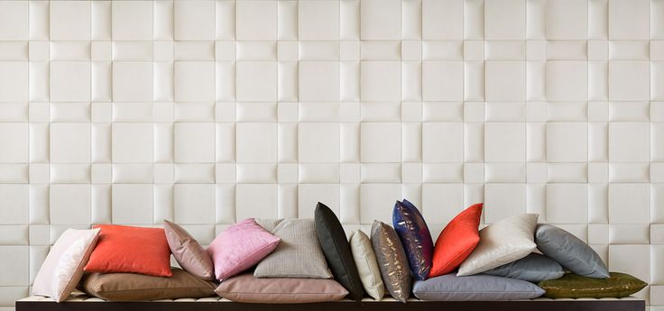 Studioart Leather pilllows and awesome leather tiles on the background! #leather #design #architecture #leathewall