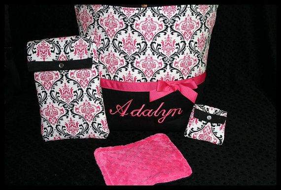 Personalized Baby Girl Diaper Bag With Wipes Case, Pacifier Pouch And Large Minky Wash/Burp Cloth on Etsy, $74.99