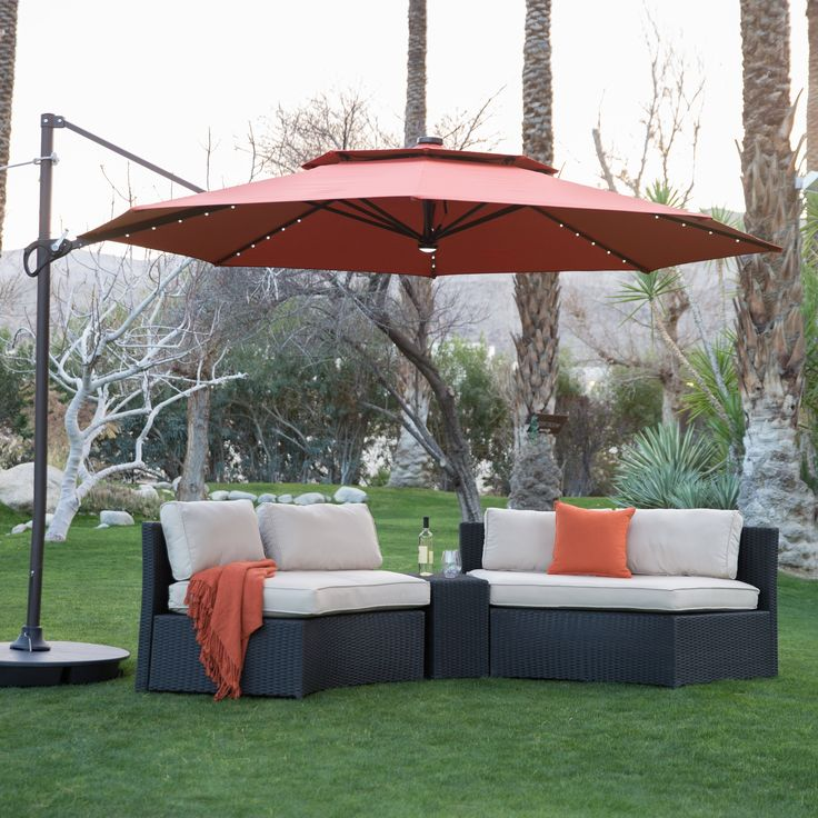 Marvelous Steel Lighted Offset Patio Umbrella U0026 Base | From Hayneedle.