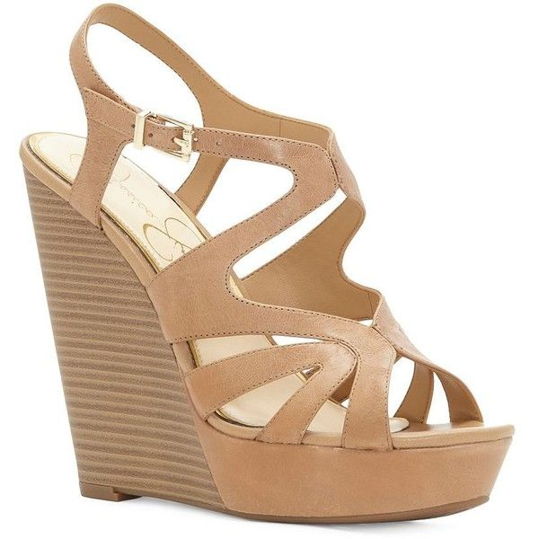 Jessica Simpson Women's Brissah Caged Leather Wedge Platform Sandals ($22) ❤ liked on Polyvore featuring shoes, sandals, buff, jessica simpson sandals, platform wedge shoes, adjustable sandals, leather shoes and platform wedge sandals