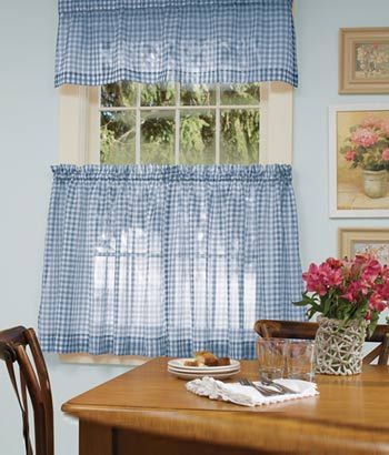 country kitchenish? Gingham Sheer Tier Panel - Blue