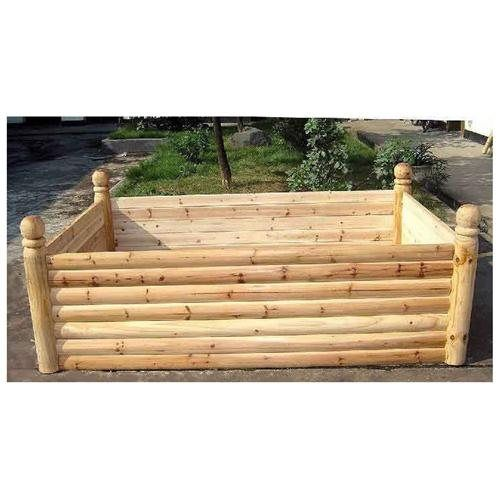 Log Raised Garden Beds: Cedar Log Wood Raised Bed, 4 Posts With Ball Finials, 4'W