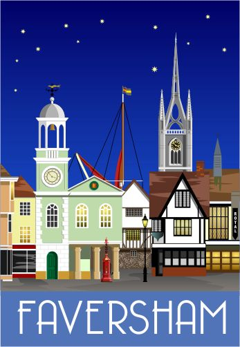 Faversham Town Centre at Night. This picture was also used for our Christmas cards.