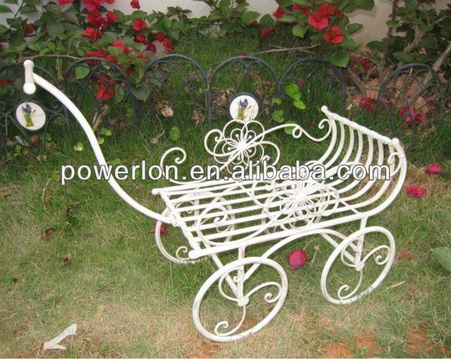 carretilla de hierro forjado decorativo nico soporte de la plantaen maceteros para flores de