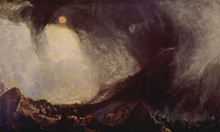 Bufera di neve, William Turner, 1812. Olio su tela, 146×237 cm. Tate Gallery, Londra