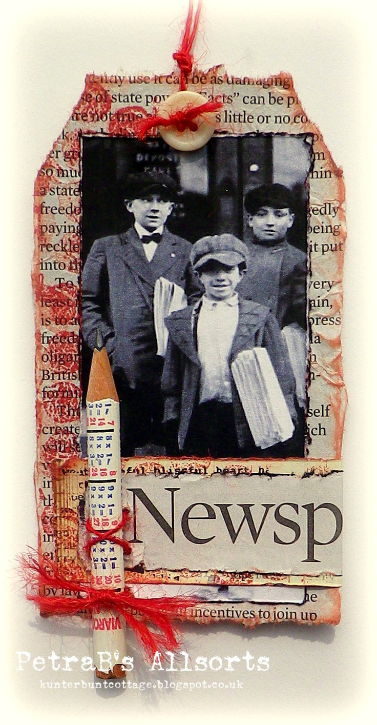 Let's Share Some News. crunched newspaper, image from the web, stamps: PaperArtsy and Kaisercraft with distress inks, button and button twine, pencil
